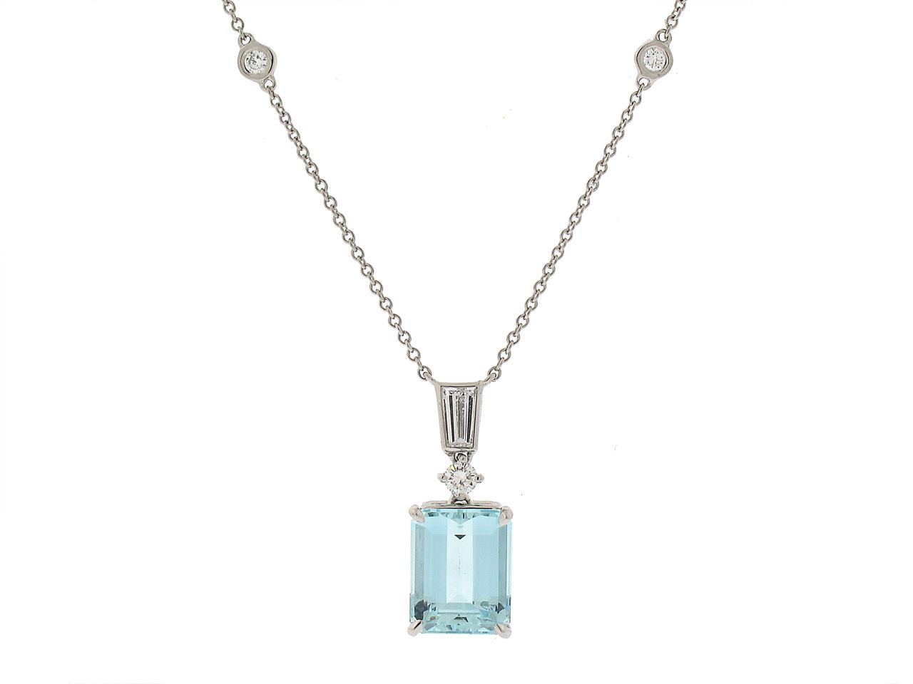 6851c01c277a Tiffany and Co. Aquamarine Pendant in Platinum - Beautiful Blue from  Beladora