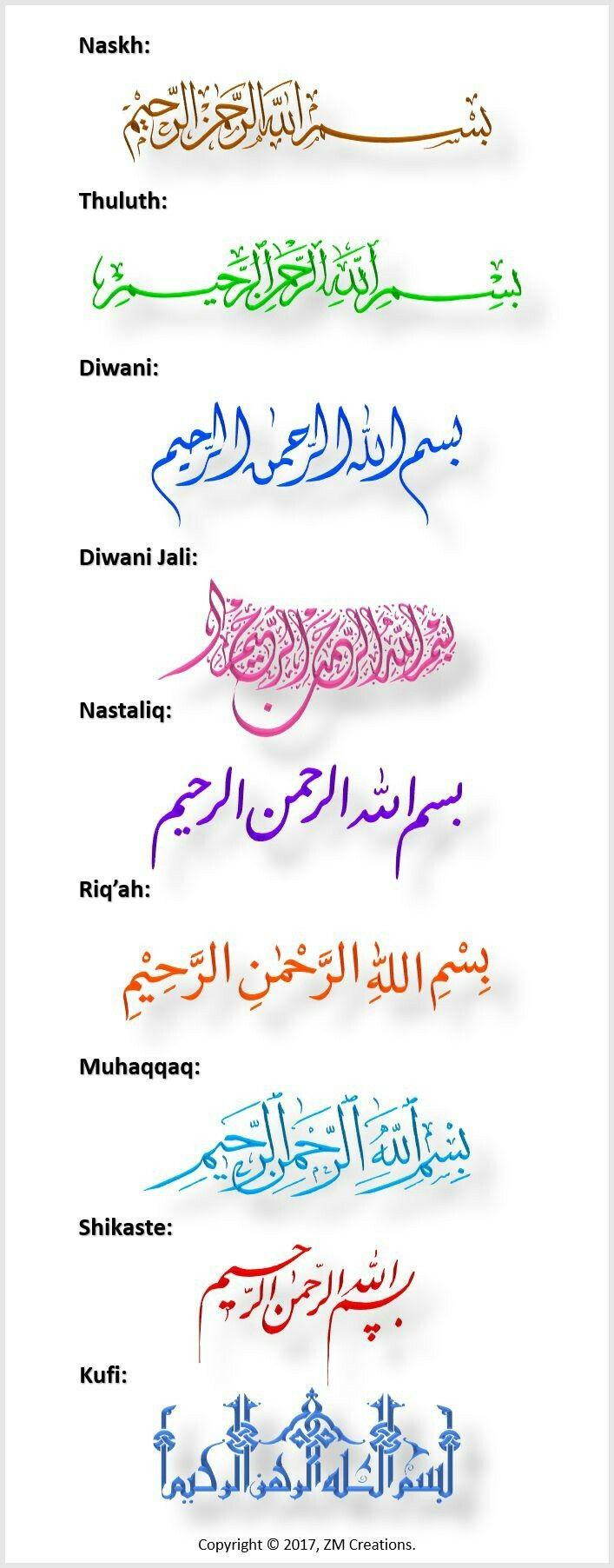 Tulisan arab Seni kaligrafi arab, Seni kaligrafi