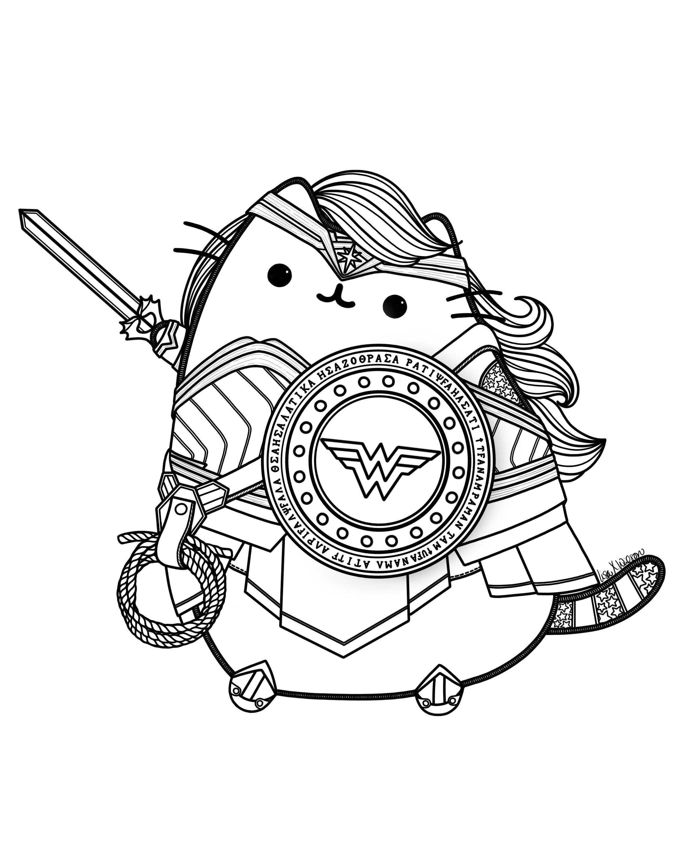Wonder Woman Pusheen Pusheen Coloringpage Fanart Wonderwoman