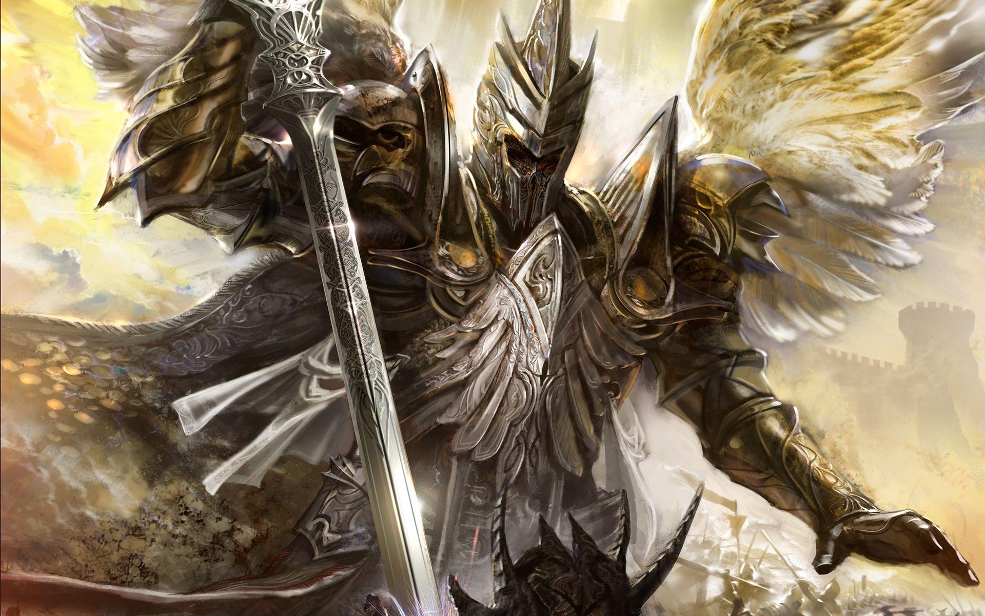 Warrior Fantasy Art Armor Angel Magic Wallpapers Hd: Fantasy, Horrmor, Art, Feather, Angel, Wings, Sword, Kick