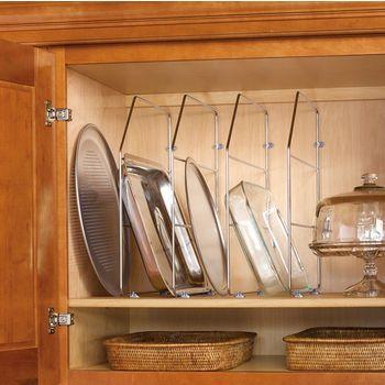 Lower shelf; install tray dividers above. | Bakeware organization, Kitchen accesories, Kitchen ...