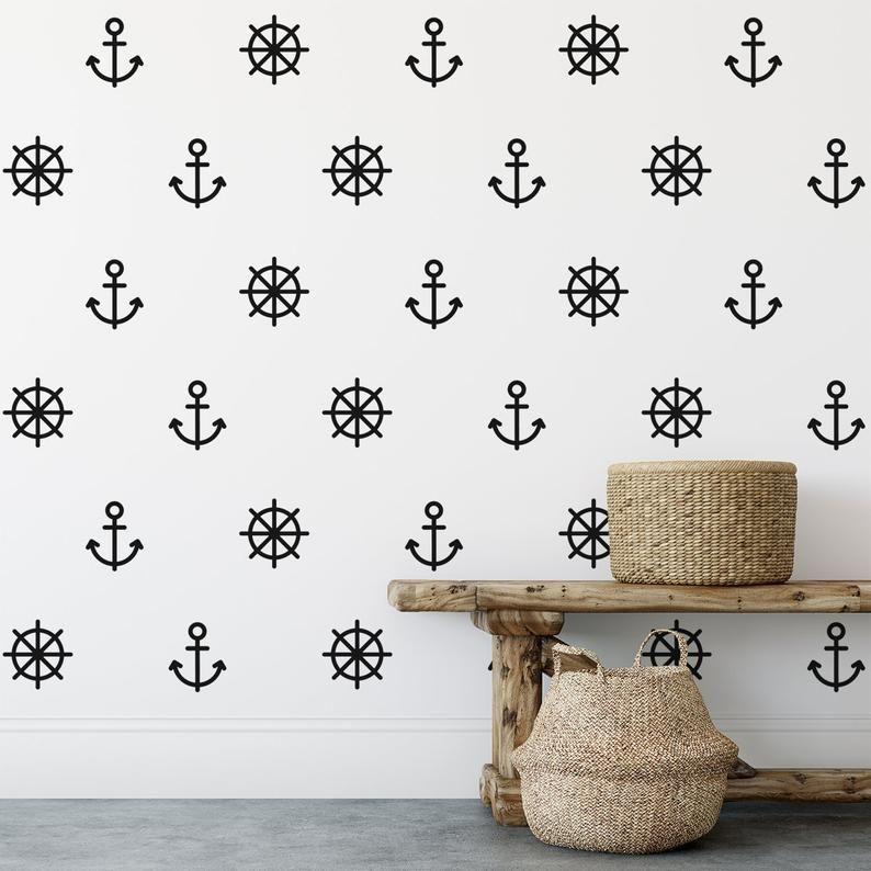 Maritime Nautical Wall Art Sticker Set Geometric Room Decor Etsy In 2020 Nautical Wall Art Sticker Wall Art Nautical Wall