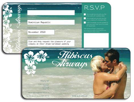 Airline Ticket Invitation Ticket invitation, Destination wedding - airline ticket invitation