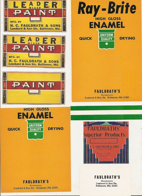 24 Paint Can Labels Fauldrath S H C Fauldrath Sons Lombard And Ann Sts Baltimore 31 Md Fruit Crate Label Labels Paint Cans