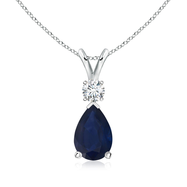 Angara Emerald-Cut Blue Sapphire Pendant with Diamond Trio ooin96