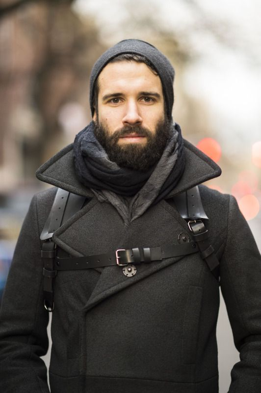 Gray Wool Pea Coat, with Leather Camera Harness worn as Accessory, Men's Fall Winter Fashion.