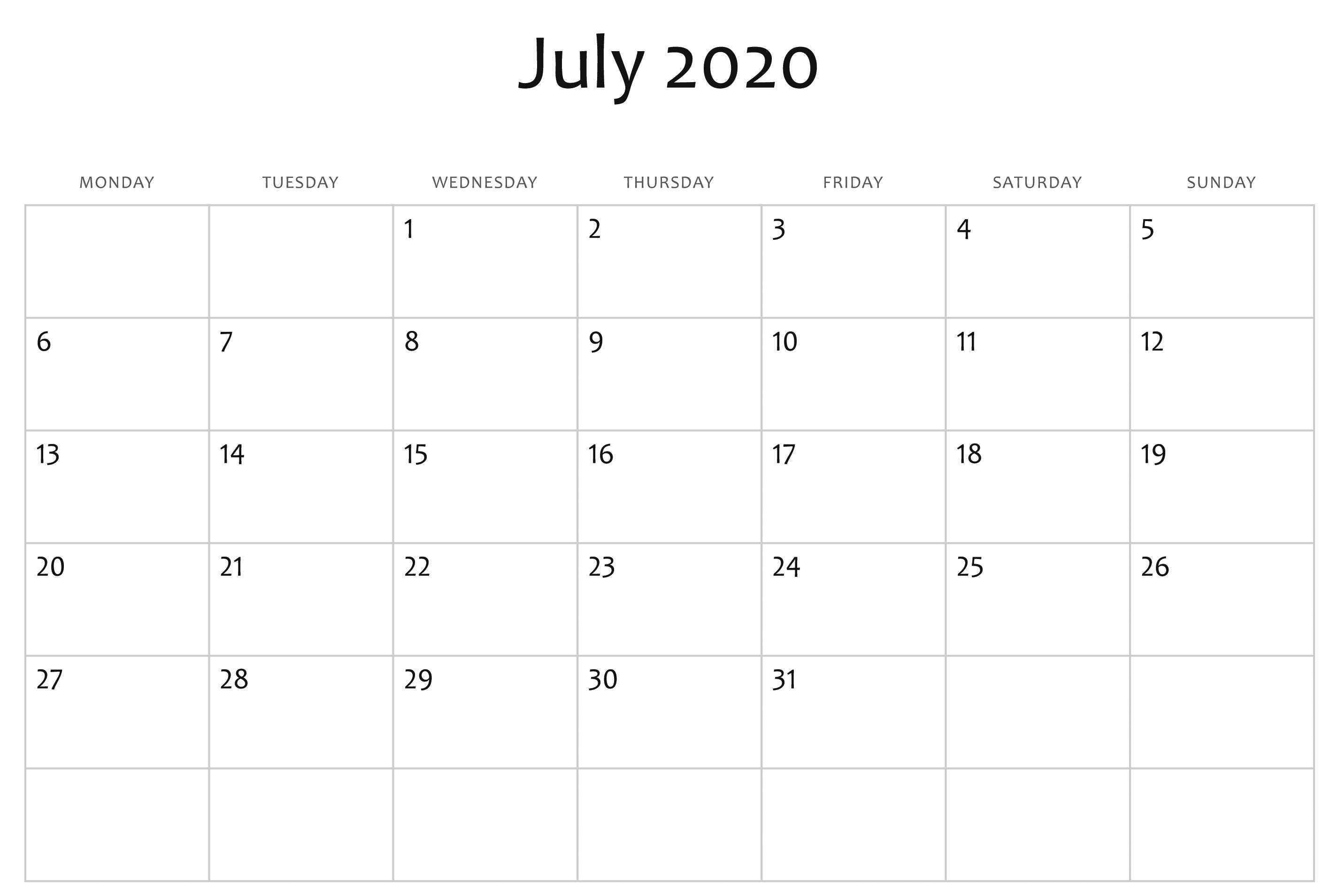 Awesome July 2020 Calendar PDF, Word, Excel Template