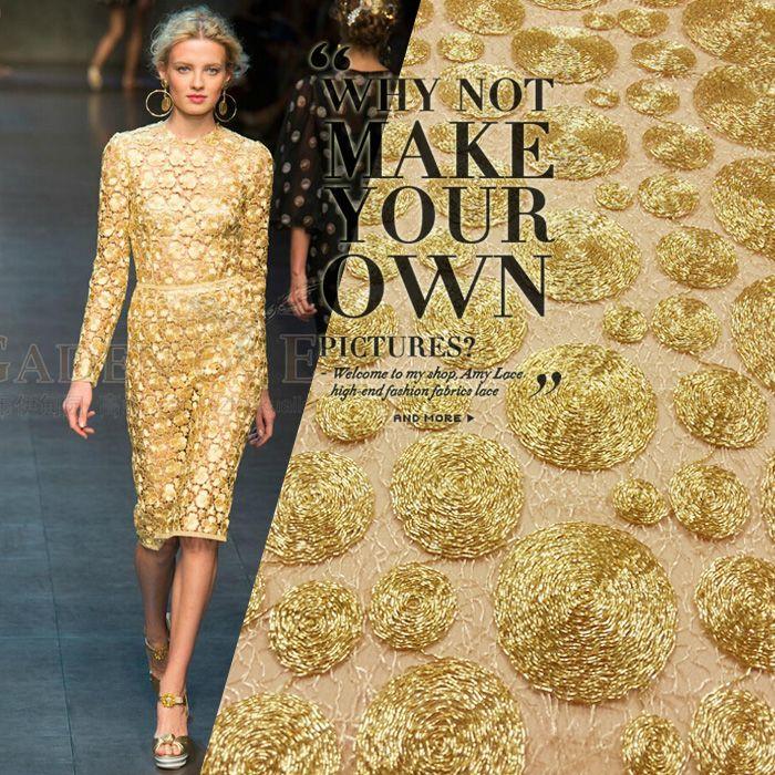 Europe gold lace fabric cloth metal texture circle super beautiful ...