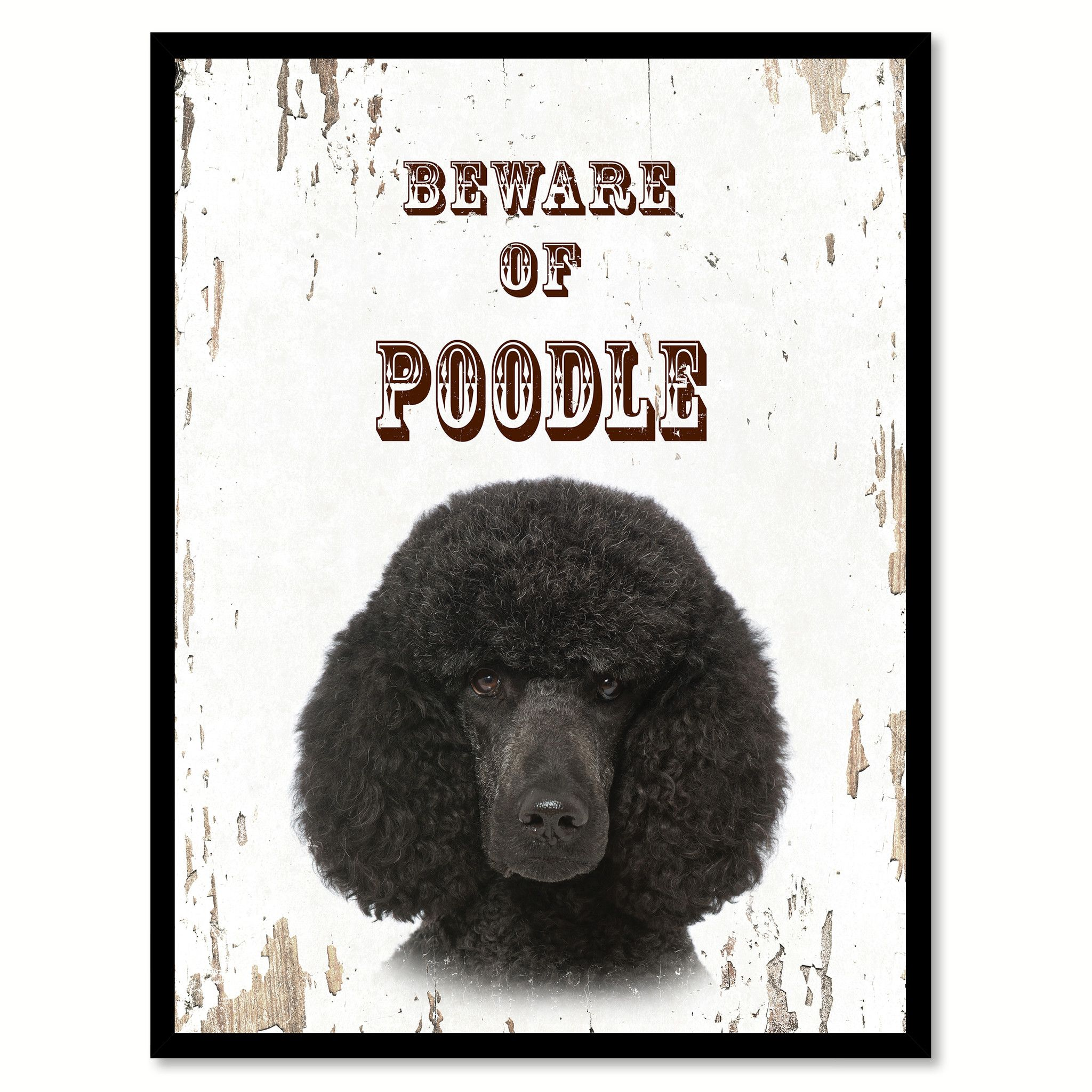 Beware of Poodle Dog Sign Gifts Canvas Print Home Décor Picture Frames Wall Art