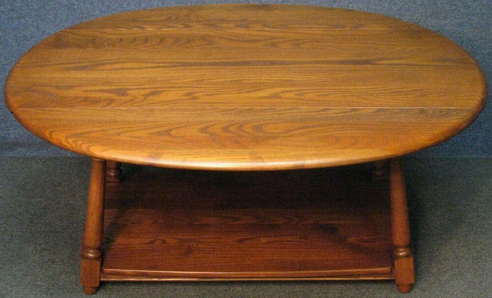 Solid Elm 2 Tier Drop Leaf Coffee Table