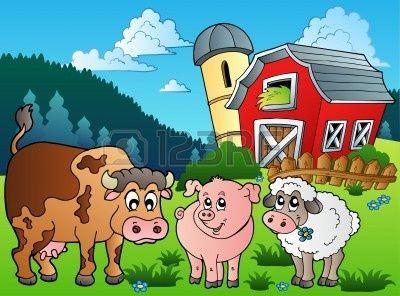 Three Farm Animals Near Barn Illustration Animal Matching Game Farm Animals Animal Clipart