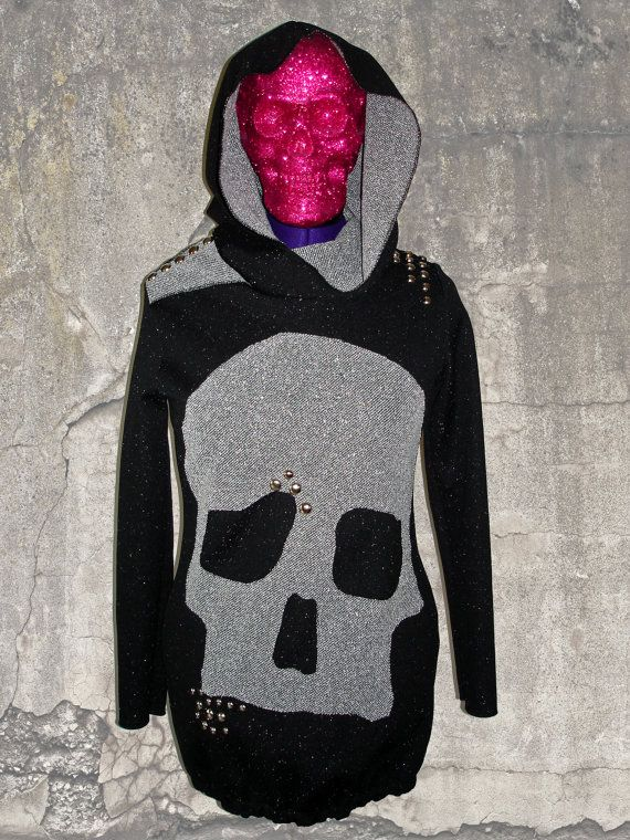 On Sale  Black n Gray Skull Crusher Hoodie by RandiLoveClothing, $55.00