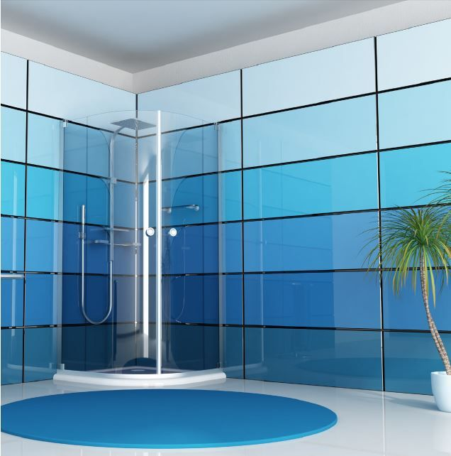 16 Enchanting Modern Entrance Designs That Boost The: Beautiful Ombre Backpainted Glass Wall Panels