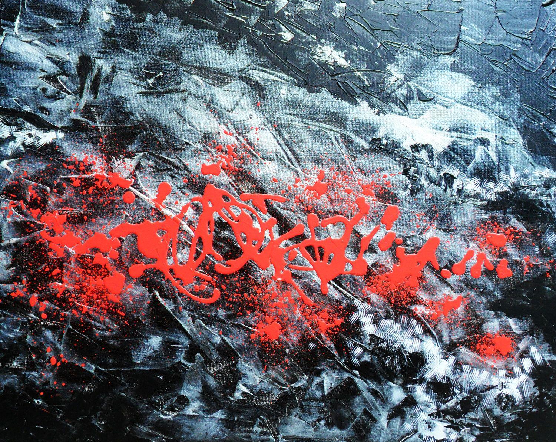 Black Abstract Pallet Knife Impasto Original painting Wall art - Immortality - 24 x 30 - Artist Skye Taylor. $250.00, via Etsy.