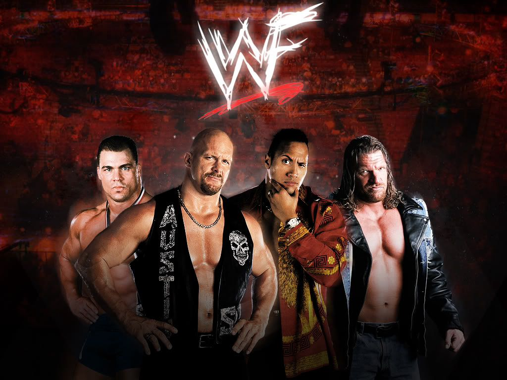 WWF Kurt Angle Stone Cold Steve Austin The Rock Triple H