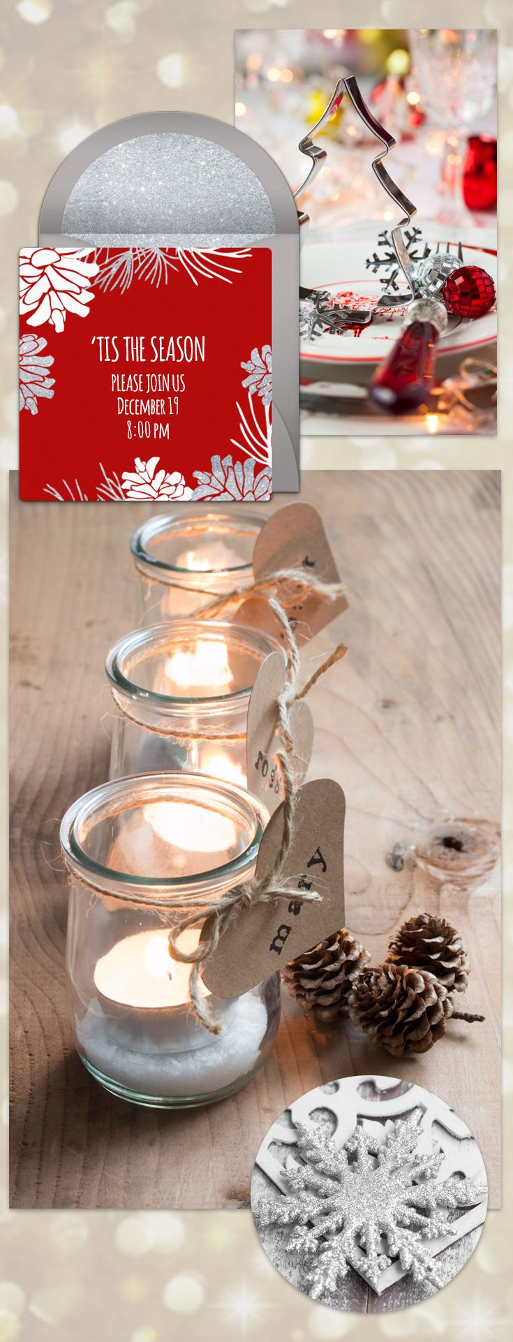 Online Invitations from   Silver christmas, Pinecone and Christmas ...
