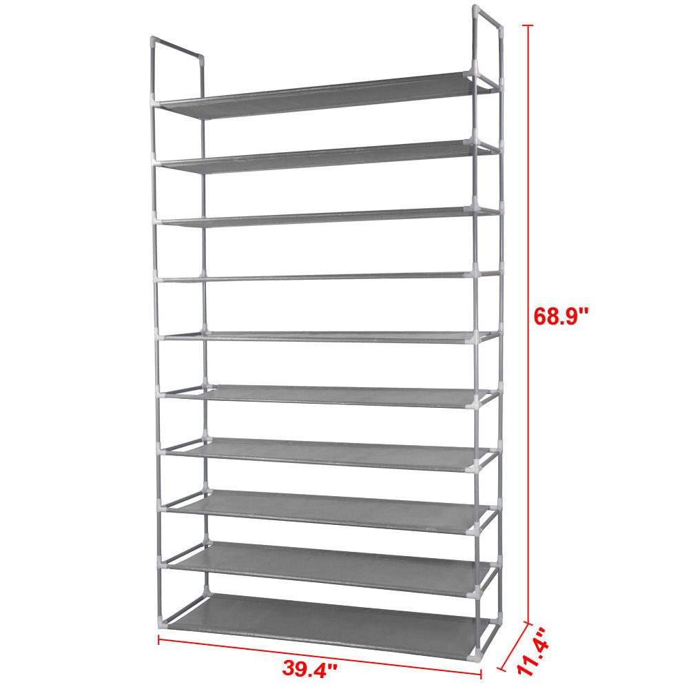 Tall Standing 10 Tier Metal Shoe Clothes Space Saver Storage Rack Organizer  #Unbranded