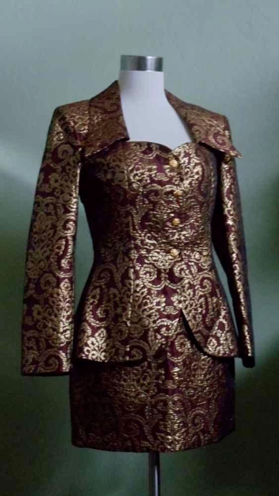 Image result for maroon gold brocade jacket