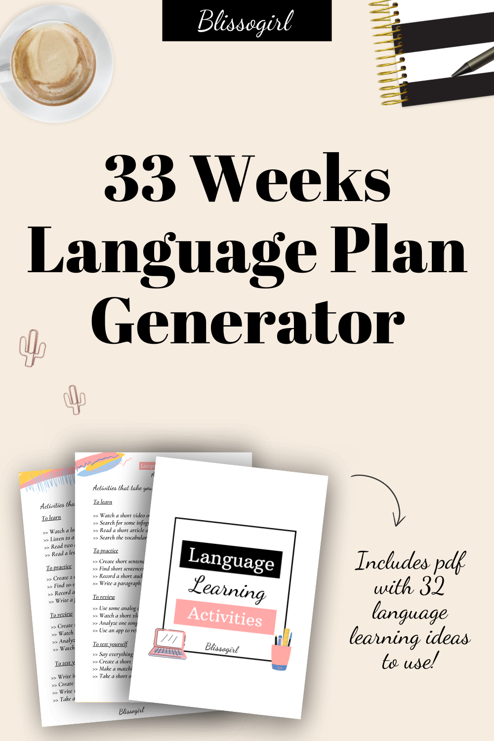 This Digital Product Was Designed To Help You Plan Your Language Studies In An Easier Way You Only Need To Fill In The Language Study Study Calendar Learning