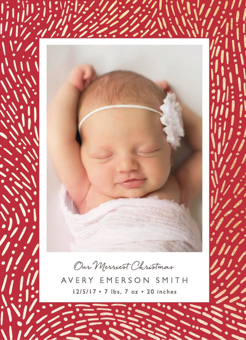 Lux confetti foil pressed holiday birth announcement by