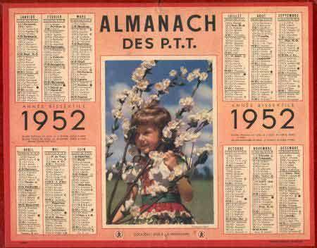 Calendrier Poste.Almanach Des Ptt 1952 Almanach Calendrier Annee 1960 Et