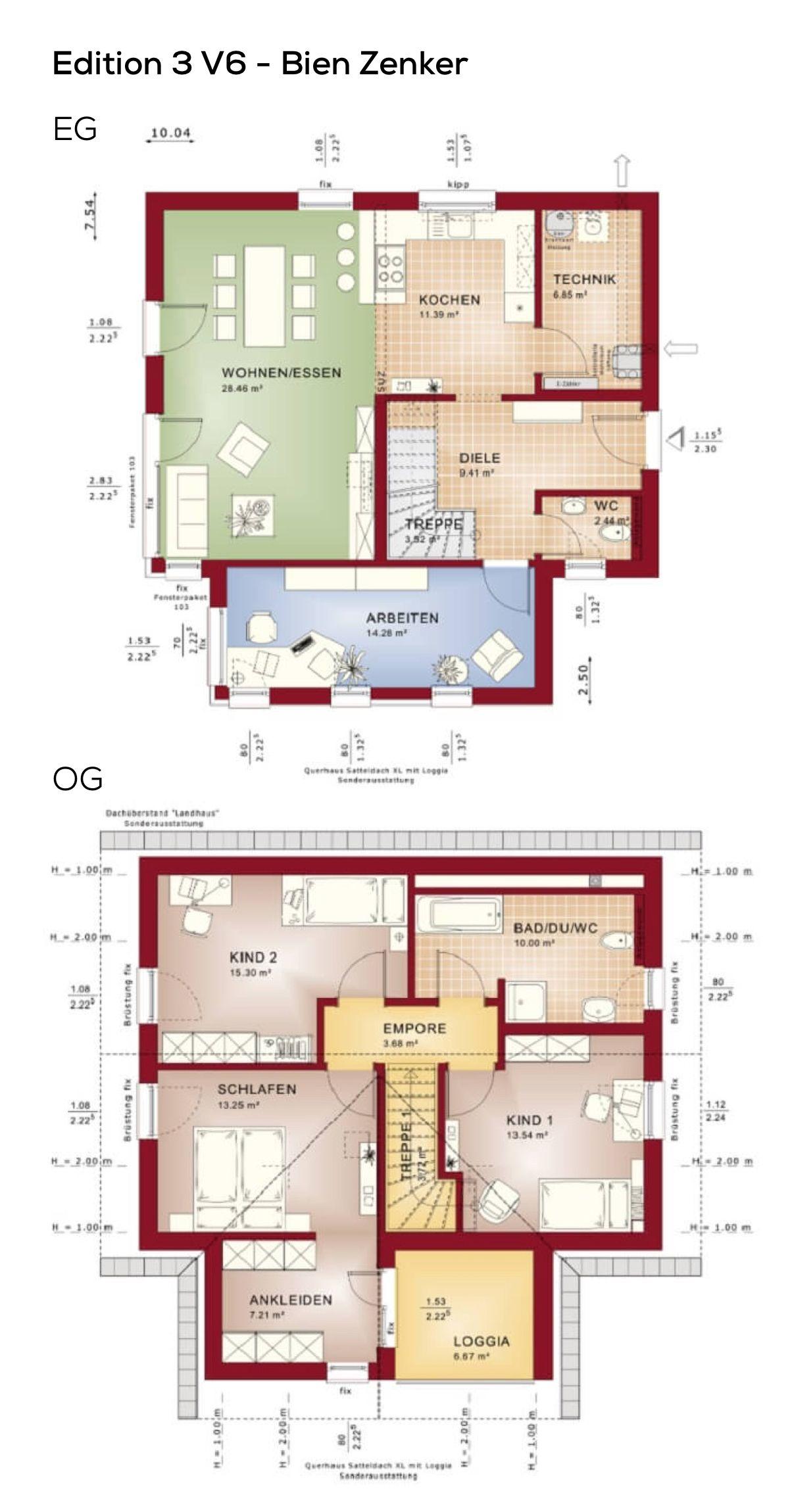 Grundriss Einfamilienhaus offen mit Satteldach & Querhaus