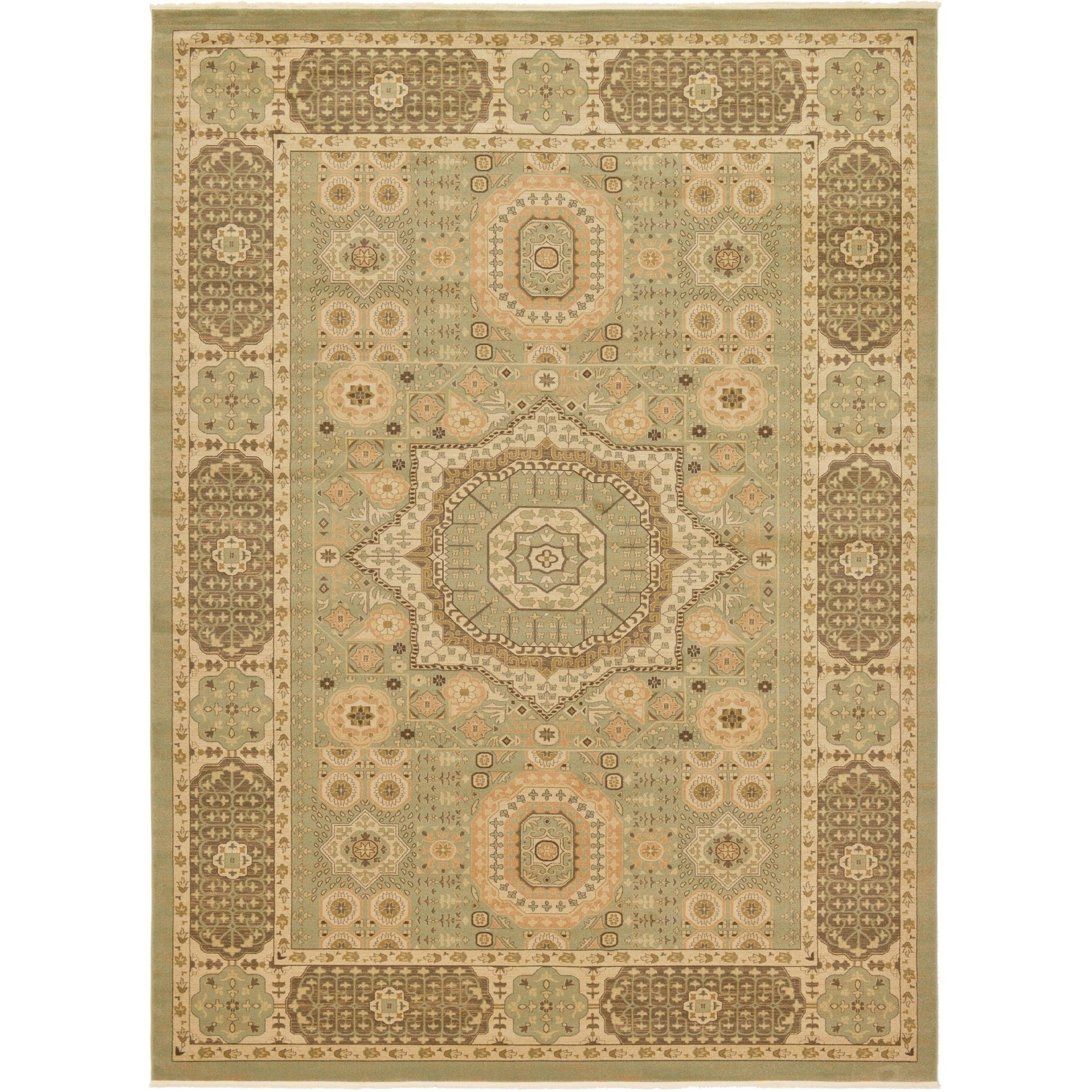 Unique Palace Light Green Beige Fl Indoor Outdoor Rectangular Area Rug 13
