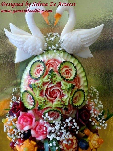 fruit basket with watermelon wedding decor
