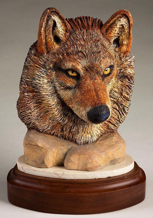 Wolf face sculpture daytoncarvers wolves pinterest