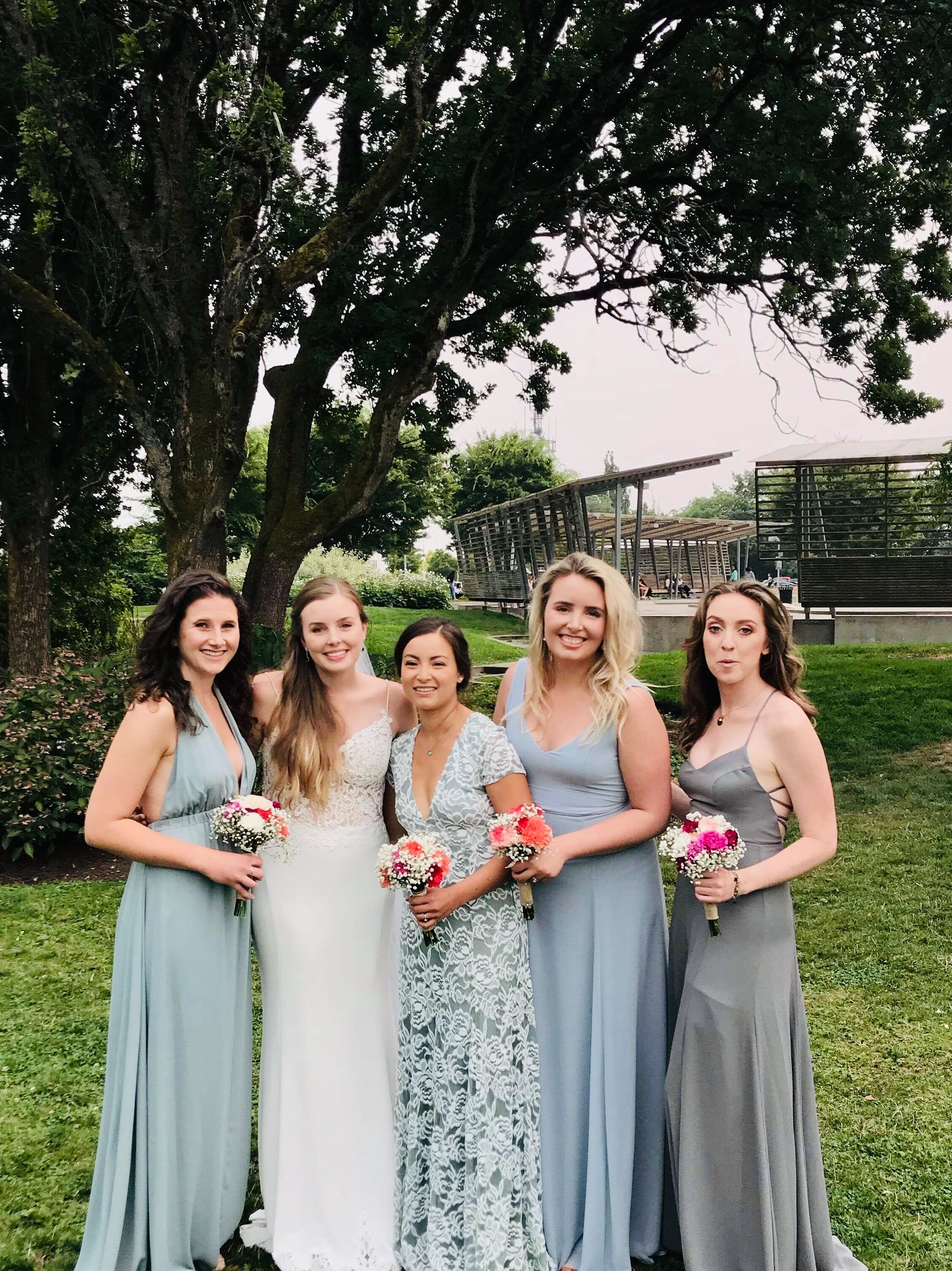 b0b7b91368b1a Show Me Your Mumu bridesmaid dresses: Godshaw Goddess Gown in Soft Charcoal  Luna in Silver. Visit. March 2019