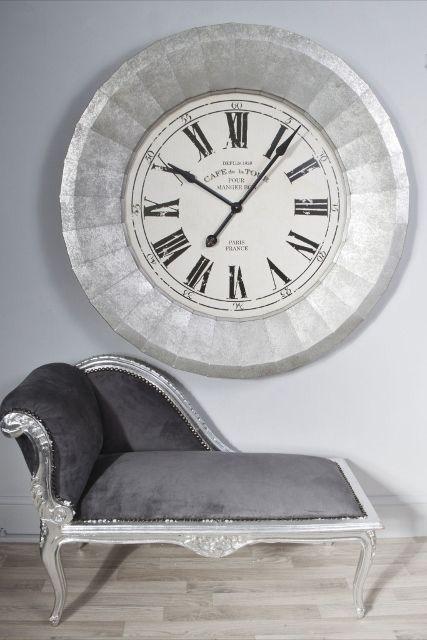 Extra Large Silver Metal Cased Cafe De La Tour 110cm Wall Clock Jack Wall Clock Clock Silver Wall Clock