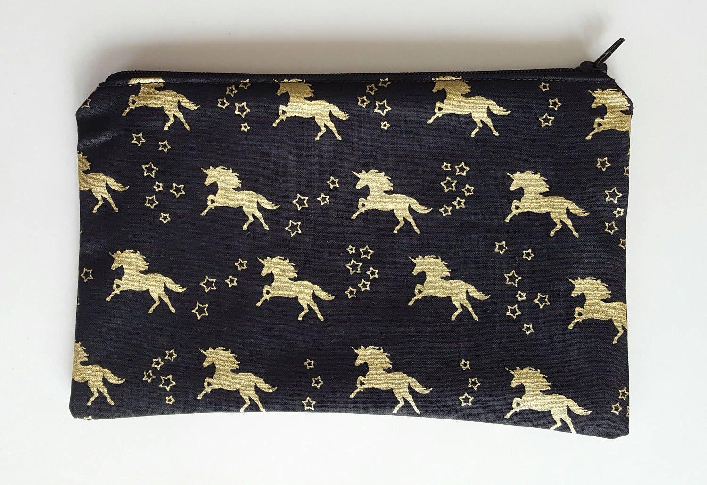 Unicorn zipper bag, gold unicorn print, zipper pouch