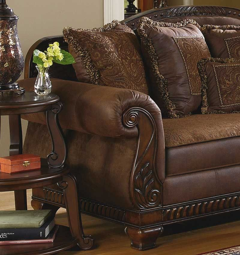 Traditional Living Room Fabric And Wood Trim Curved Sofa Brady Traditional Wood Trim