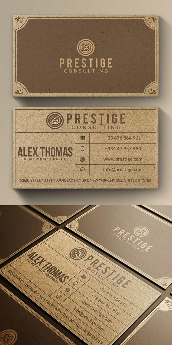 Retro kraft business card businesscards branding visitingcard 25 professional business cards template designs design reheart