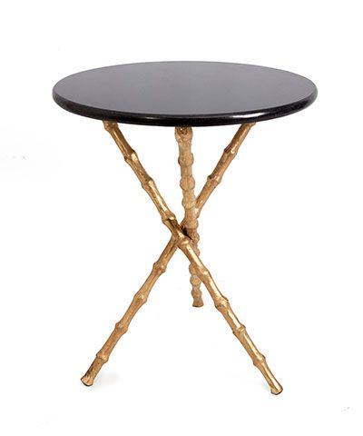 Merveilleux Bamboo Tripod Table   Brass Legs   The Visual Repetition Of Subtle Turns  And Swellings In