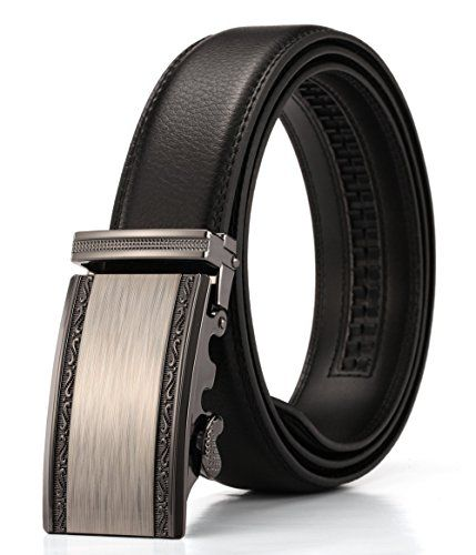 Men's Genuine Ratchet Leather Belt for Dress with Black Buckle Wide 1 3//8 Inch