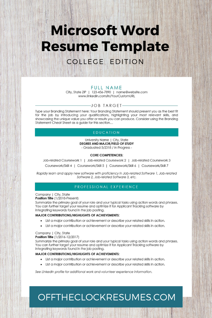 College Edition Modern Resume Template Microsoft Word Resume Template Resume Template Modern Resume Template