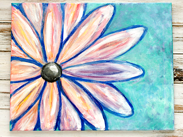 Lovely Altered Abstract Wall Art | Paint Nite Crazy Daisy | Date Night Fun W/ Hubby