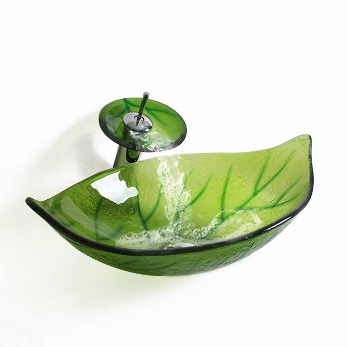 Green Leaf Shape Tempered Glass Bathroom Vessel Sink U0026 Chrome Waterfall  Faucet, A Functional Work