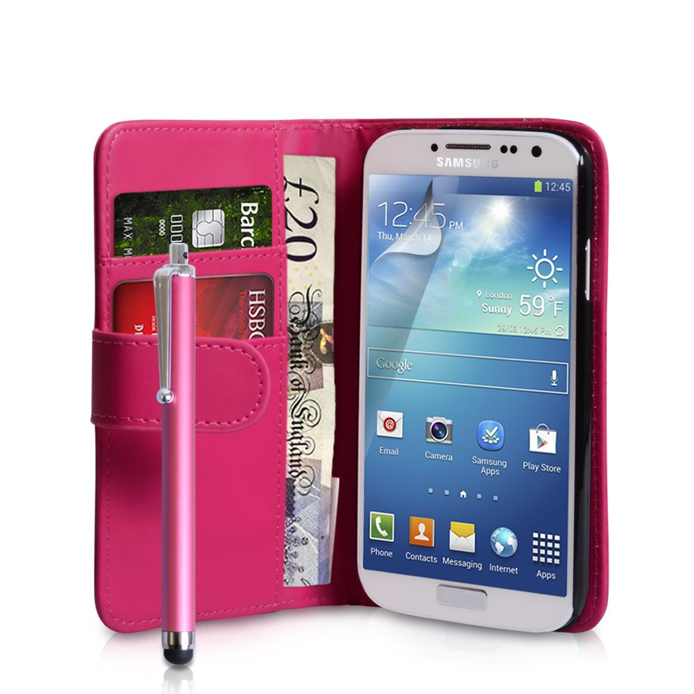 Galaxy S4 Wallet Case | ... for Hot Pink Samsung Galaxy S4 PU Leather Wallet Case With Stylus Pen