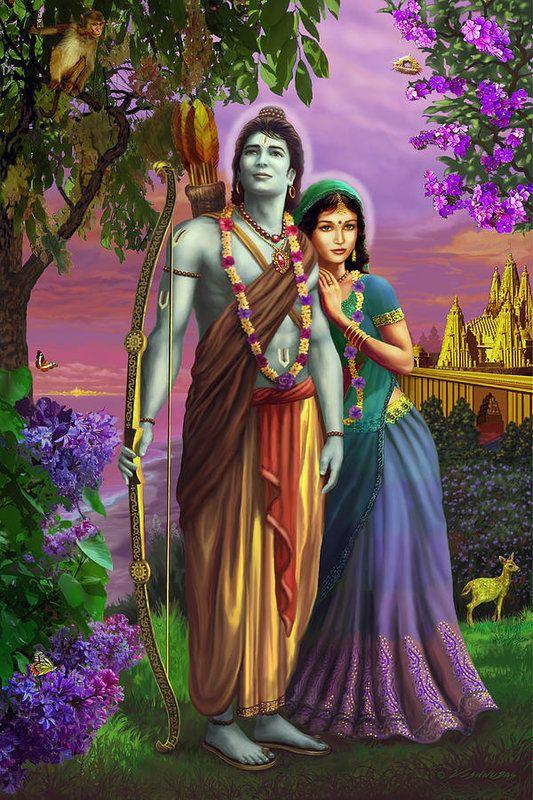 Rama and Sita Art Print by Vishnudas Art