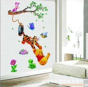 Wall Design For Kids endearing diy cute colorful tree and owl birds wall art decals wall stickers decor ideas picturesque Pooh Tree Animal Cartoon Vinyl Wall Stickers For Kids Rooms Home Decor Diy Child Wallpaper Art