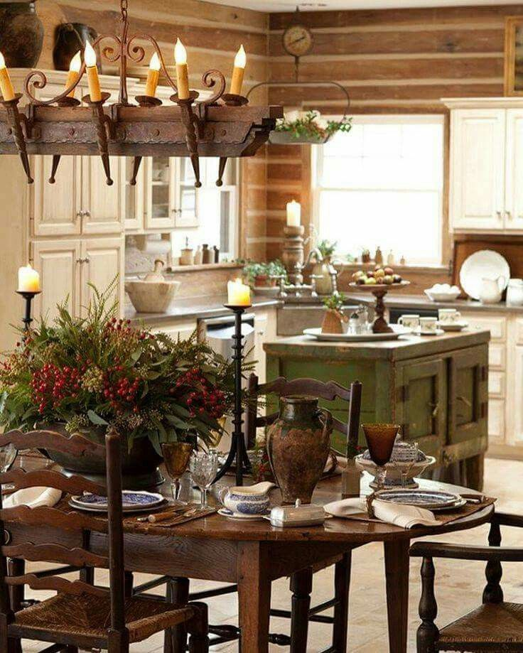 pin by karen laplue on christmas country kitchen rustic house rustic kitchen on farmhouse kitchen xmas id=40722