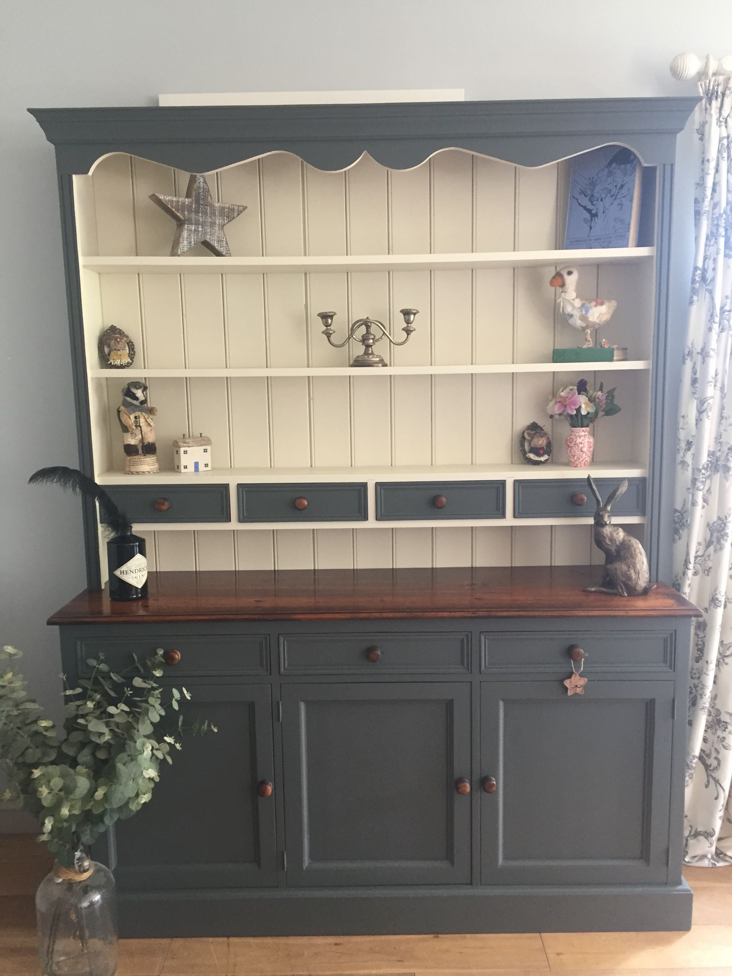 Best Hand Painted Kitchen Dresser In Farrow And Ball Downpipe 400 x 300