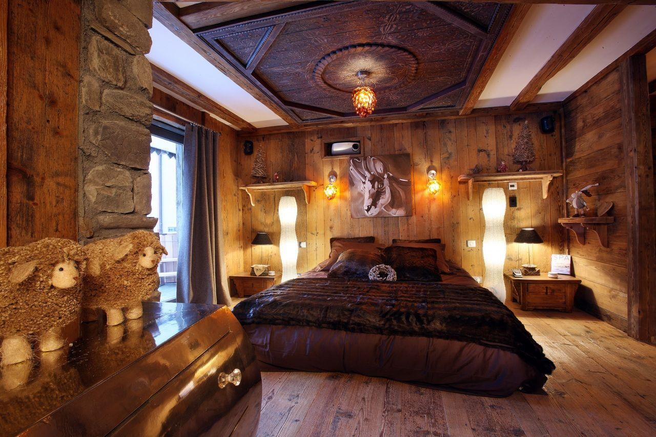 Innenarchitektur Bett Schlafzimmer Zimmer Holzern Design Decke
