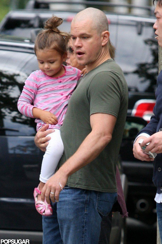 Matt Damon was joined by his daughter in July 2011 on the set of a movie in Canada. #celebrities #celebrity dads #celebrities' kids