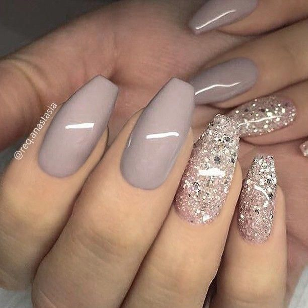X2728 Repost Taupe Grey And Glitter On C Beige Nails Gorgeous Nails Nail Designs
