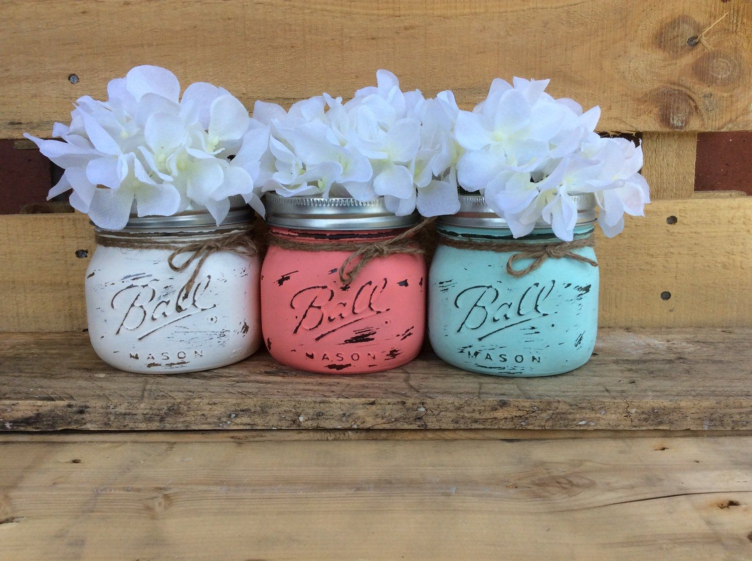 office warming gifts. Painted Mason Jars. Vase. Home Decor. Bathroom Office Shabby Warming Gifts R