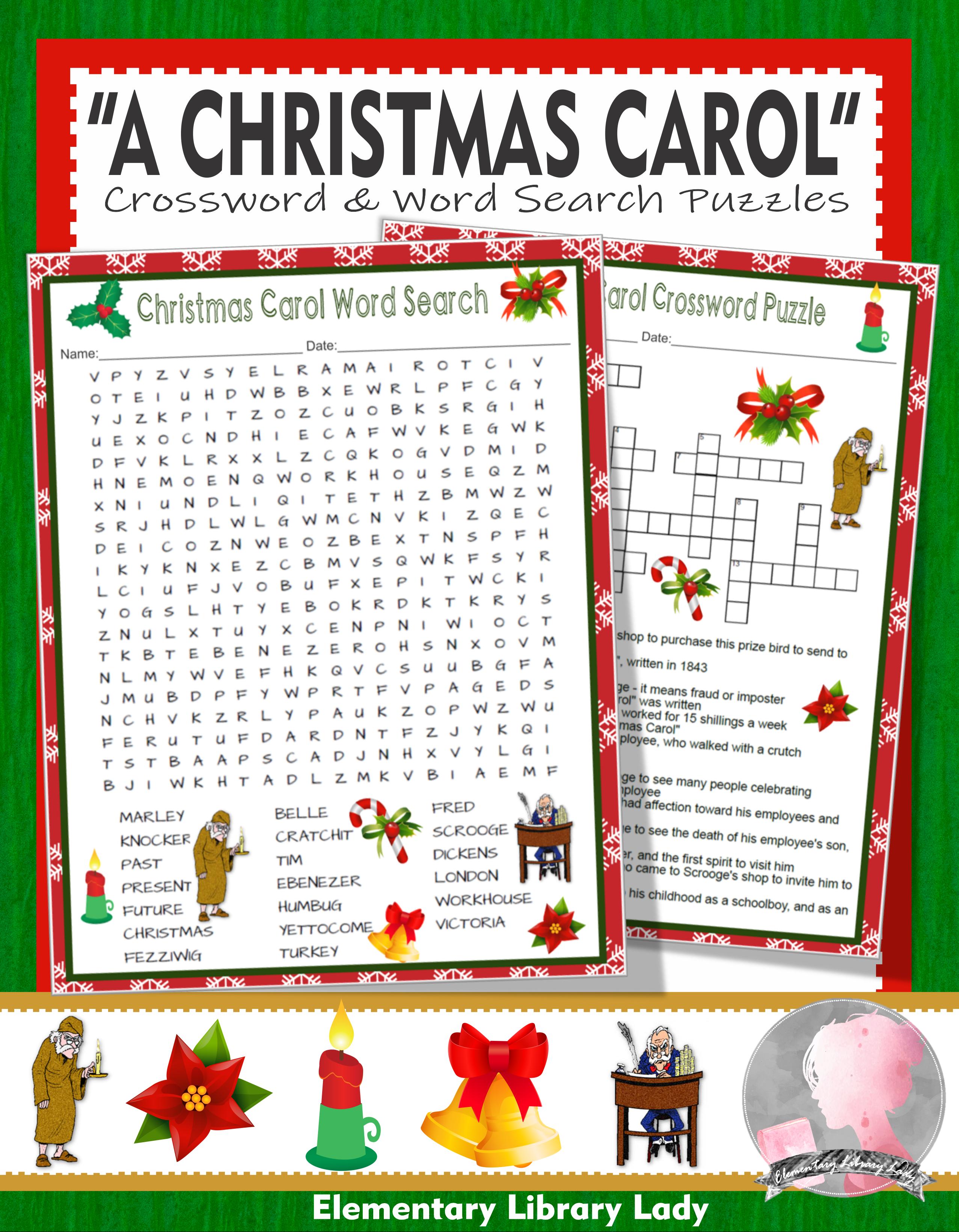 A Christmas Carol Activities Charles Dickens Crossword