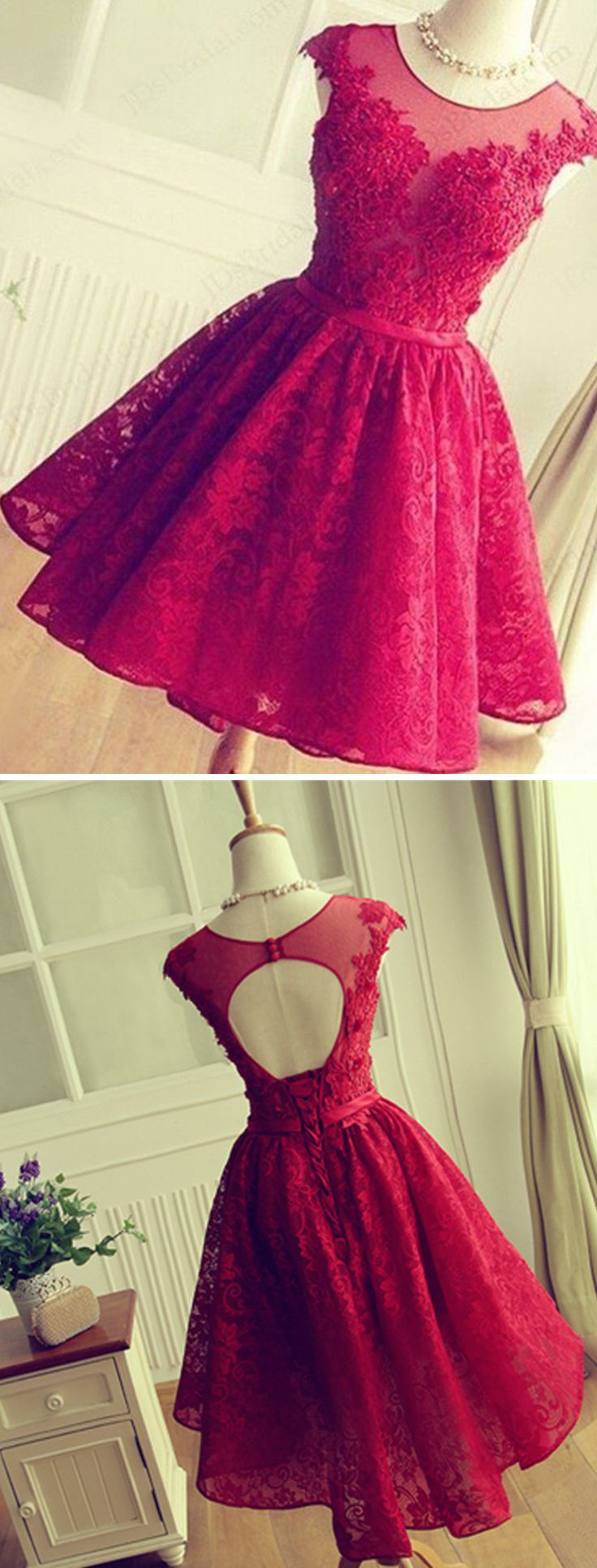 Burgundy lace beading homecoming dresses capped sleeves open back